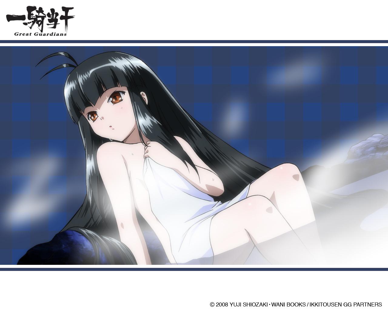 black_hair choushou_shifu flat_chest ikkitousen ikkitousen~great_guardians~ long_hair nude onsen orange_eyes tagme_(artist) towel