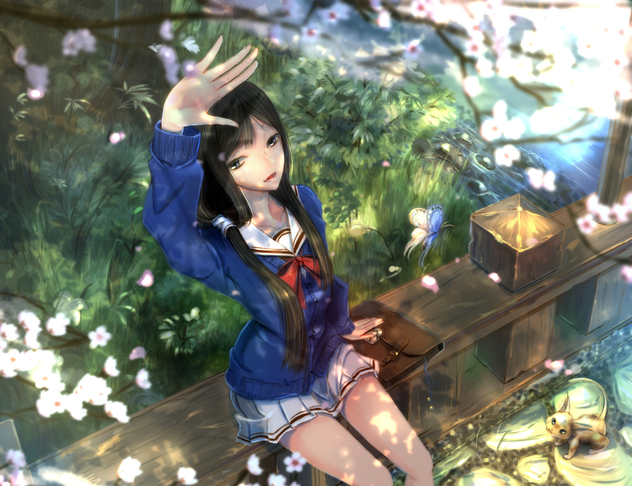 animal black_hair butterfly cat cherry_blossoms flowers grass kikivi long_hair original school_uniform skirt spring