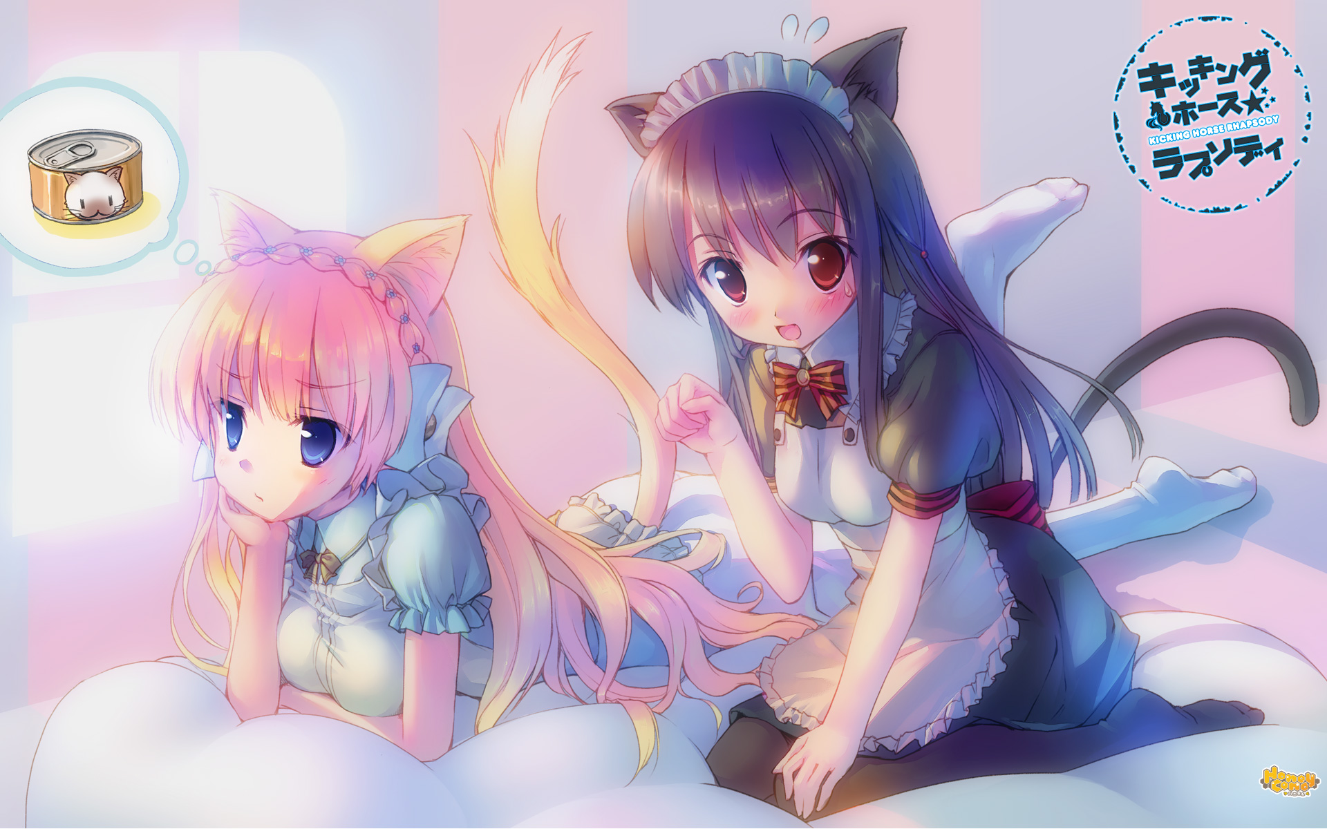 animal_ears black_hair blonde_hair catgirl kicking_horse_rhapsody maid orina_nobara pantyhose seritsumu_hijiri tail takoyaki_(roast)