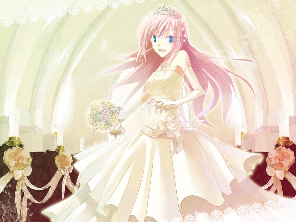 blue_eyes elbow_gloves flowers gloves megurine_luka pink_hair tiara vocaloid wedding wedding_attire