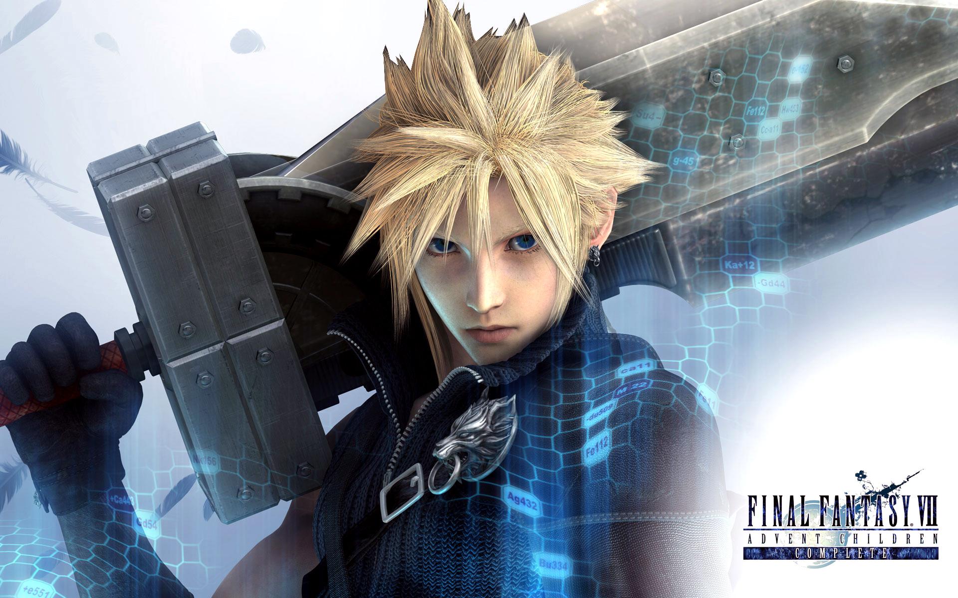 blonde_hair blue_eyes cloud_strife final_fantasy final_fantasy_vii final_fantasy_vii_advent_children sword weapon
