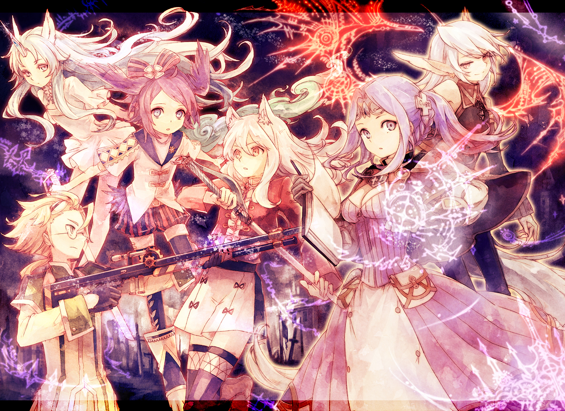 animal_ears blonde_hair bow dress glasses gun horns long_hair magic nemu_isaya pixiv_fantasia purple_eyes purple_hair red_eyes short_hair skirt sword tail weapon white_hair wings