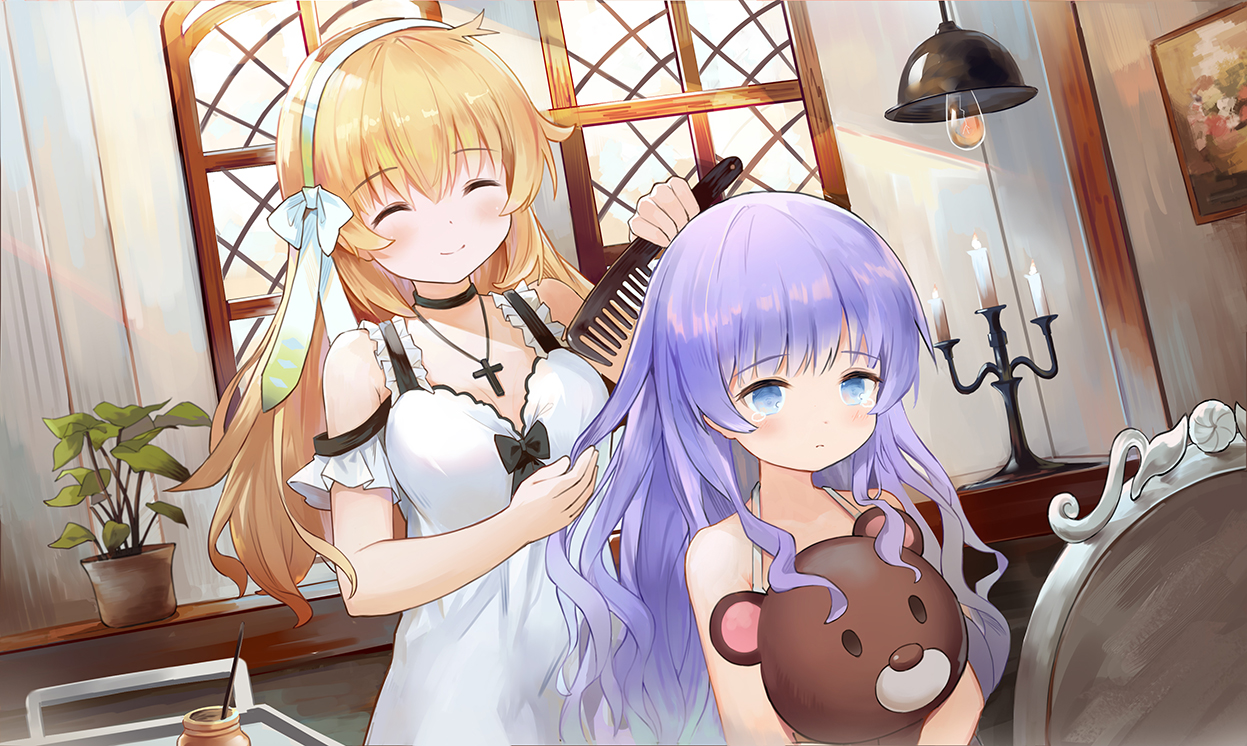 2girls dress harmonia_(key) leilin loli long_hair shiona_(harmonia) teddy_bear tipi_(harmonia)