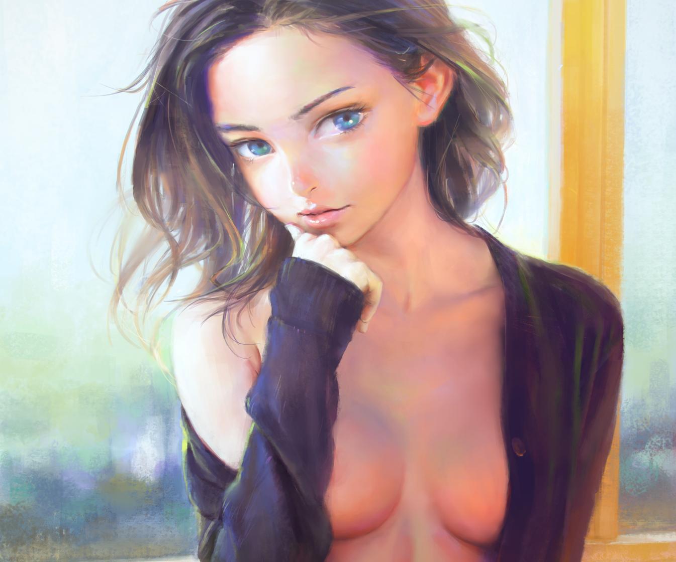 aqua eyes blue eyes breasts brown hair cleavage cropped long hair nababa naked shirt open shirt original realistic