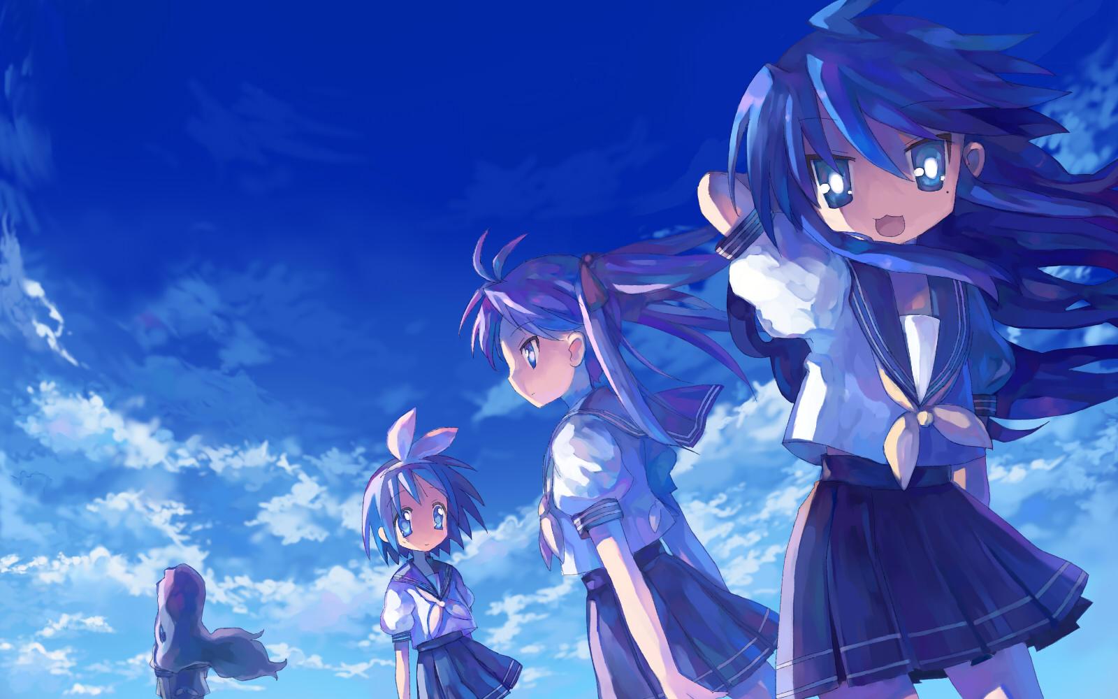 blue blue_hair clouds hiiragi_kagami hiiragi_tsukasa izumi_konata lucky_star school_uniform sky takara_miyuki tsuchiya_akira