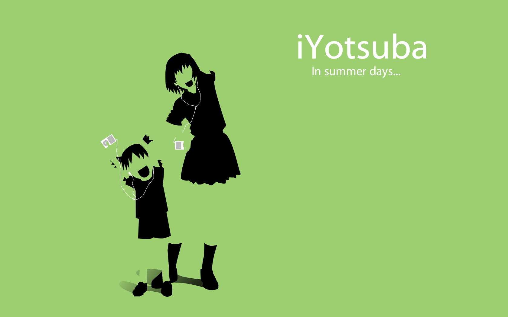 ayase_fuuka green ipod koiwai_yotsuba polychromatic silhouette yotsubato!