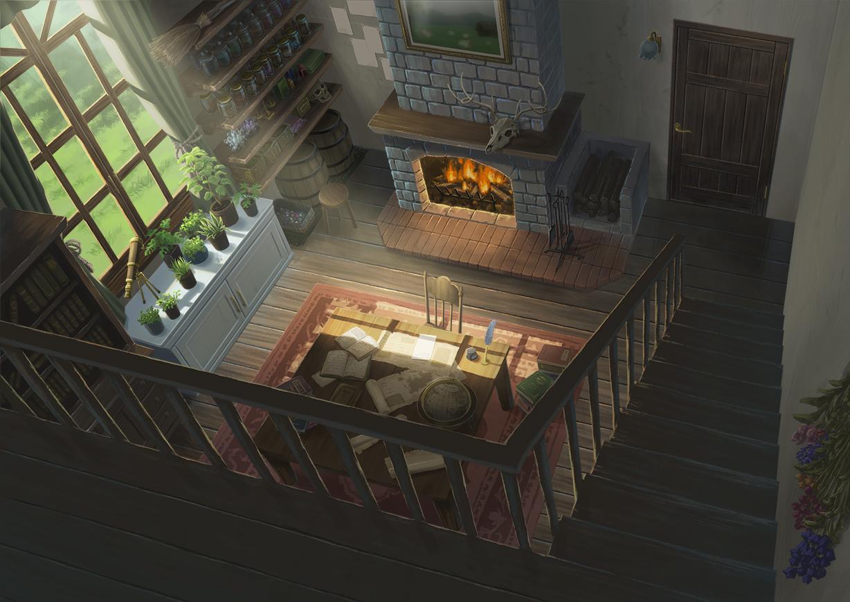 book dark fire flowers grass hirose_yuki leaves nobody original paper scenic skull stairs