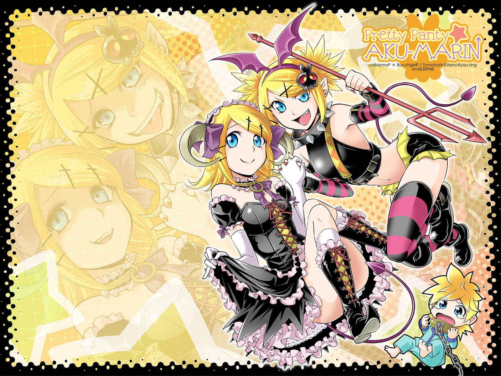 blonde_hair blue_eyes kagamine_len kagamine_rin kitano_tomotoshi vocaloid