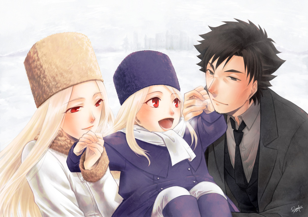 black_eyes black_hair emiya_kiritsugu fate_(series) fate/stay_night fate/zero gray_hair hat illyasviel_von_einzbern irisviel_von_einzbern long_hair rainsp red_eyes scarf snow white_hair
