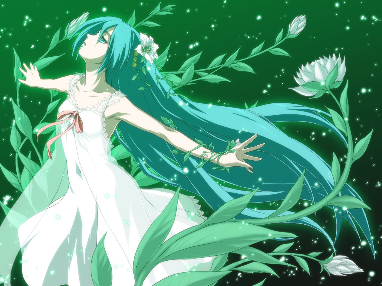 aqua_eyes aqua_hair dress flowers hatsune_miku iga_tomoteru long_hair saya_no_uta vocaloid