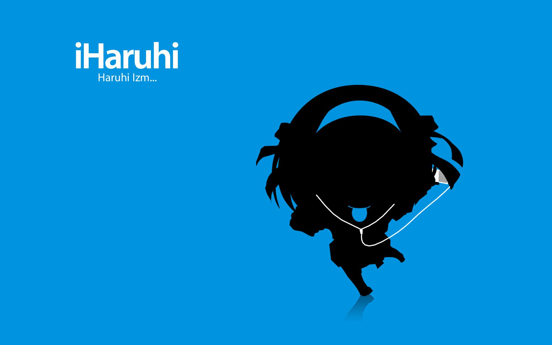 blue chibi ipod parody short_hair silhouette skirt suzumiya_haruhi suzumiya_haruhi_no_yuutsu