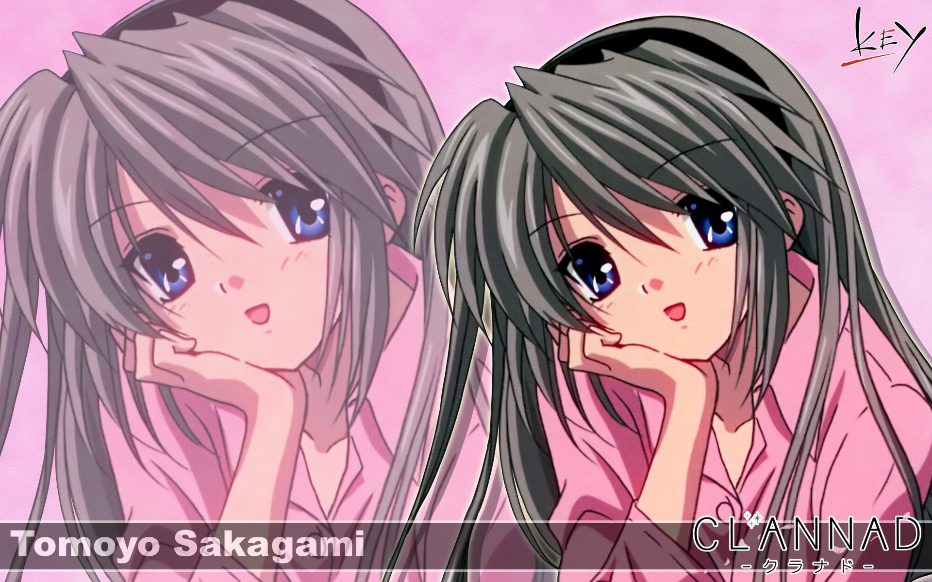 blue_eyes clannad gray_hair headband key logo long_hair sakagami_tomoyo zoom_layer