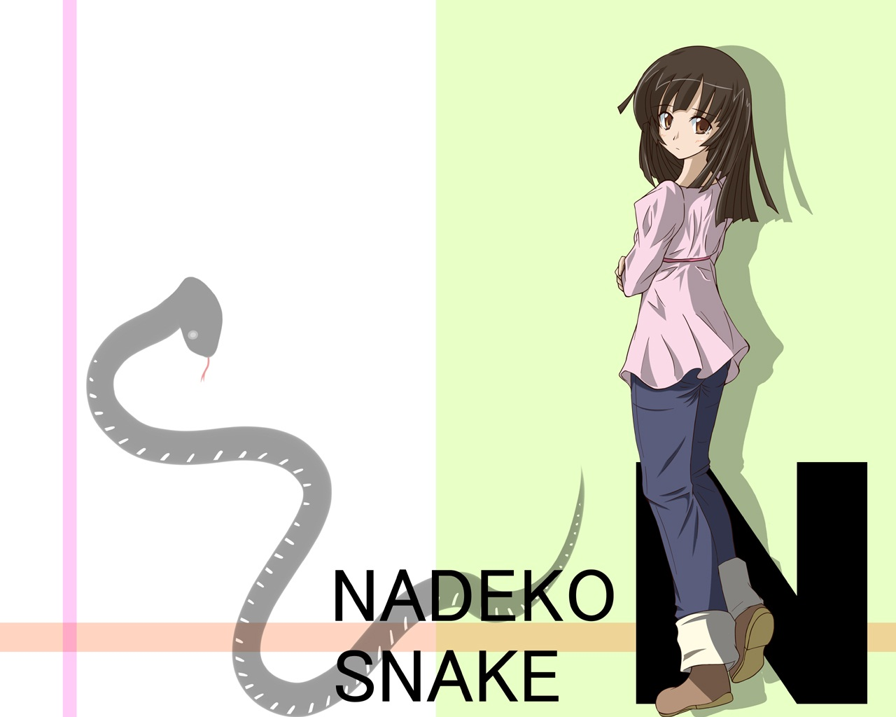 animal bakemonogatari brown_eyes brown_hair monogatari_(series) sengoku_nadeko snake