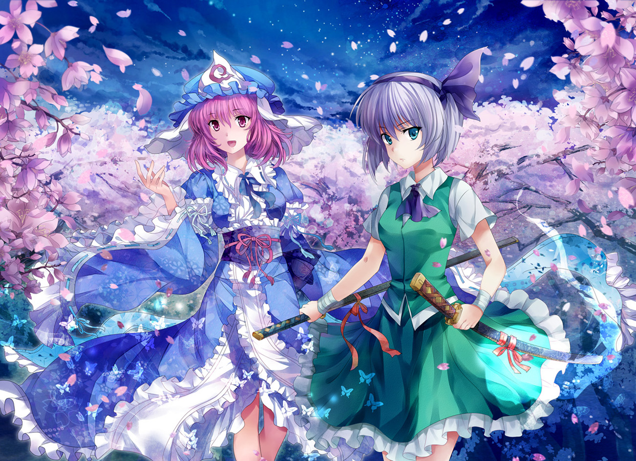 2girls butterfly cherry_blossoms clouds dress green_eyes hat headband japanese_clothes katana konpaku_youmu night petals pico pink_eyes pink_hair saigyouji_yuyuko short_hair sky stars sword touhou weapon white_hair
