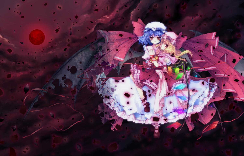 2girls flandre_scarlet mikazuki_sara remilia_scarlet touhou vampire