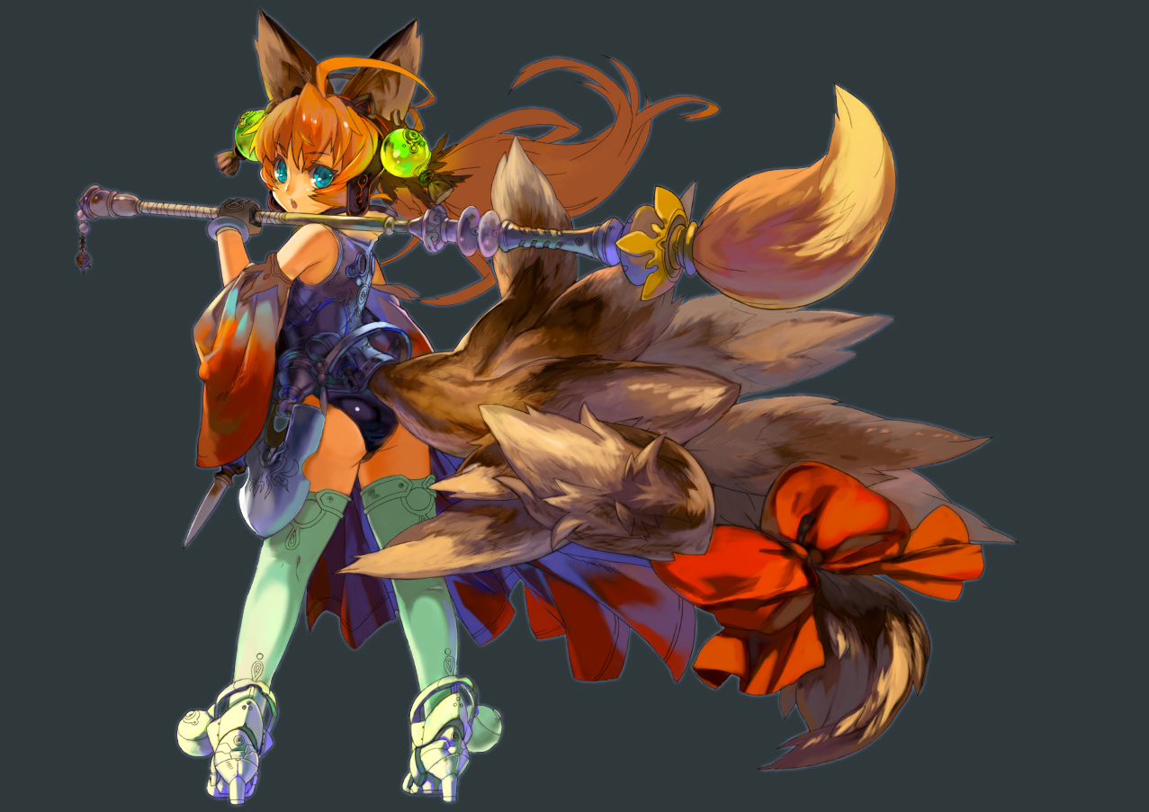animal_ears blue_eyes foxgirl gray kajimiya orange_hair original tail
