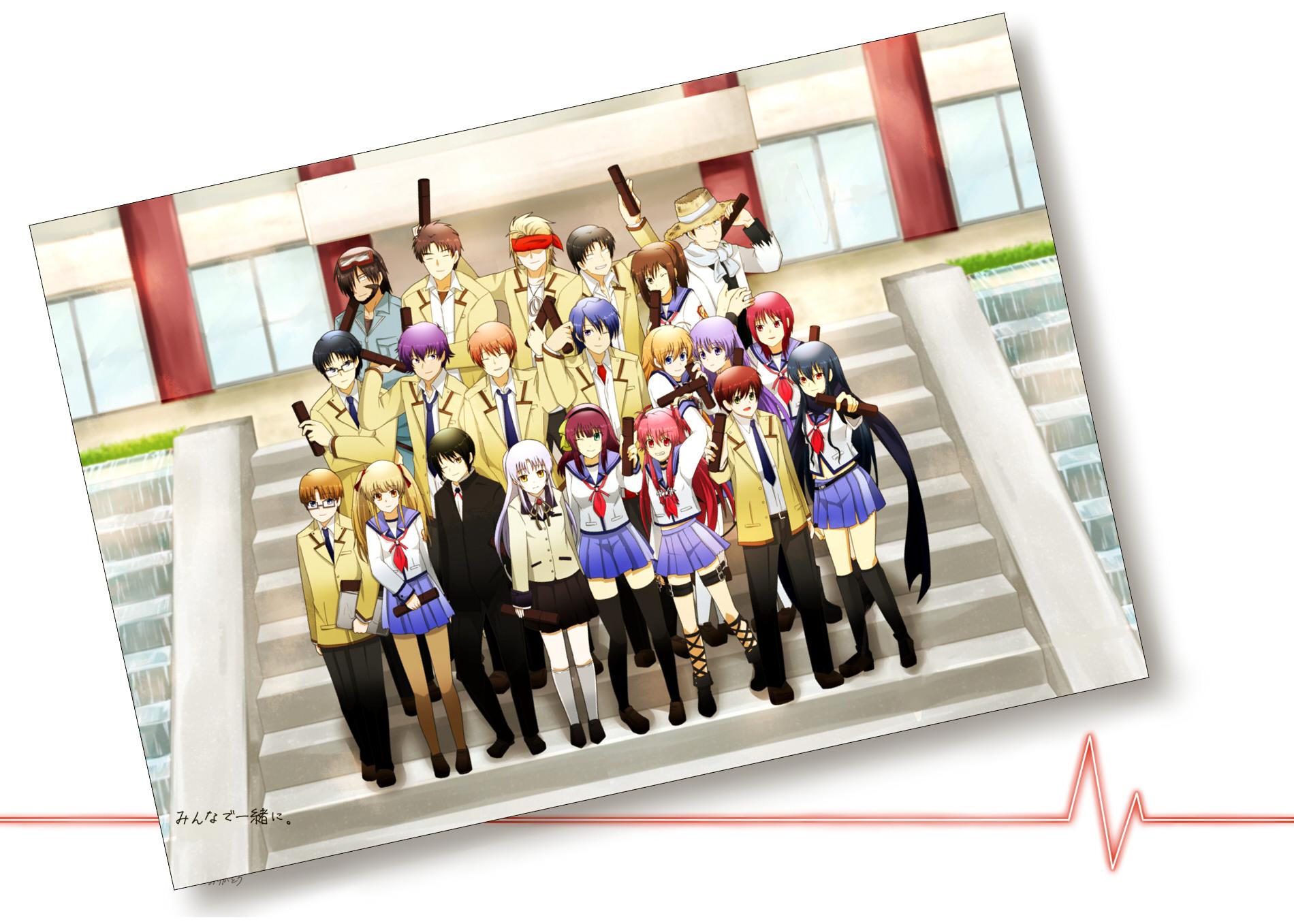 angel_beats! chaa fish_saito fujimaki group hinata_hideki hisako irie_miyuki iwasawa_masami matsushita nakamura_yuri naoi_ayato noda ooyama otonashi_yuzuru sekine_shiori shiina tachibana_kanade takamatsu takeyama tk yui_(angel_beats!) yusa