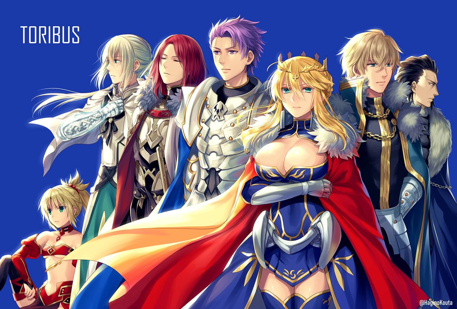 agravain armor artoria_pendragon_(all) artoria_pendragon_(lancer) bedivere blue breast_hold breasts cleavage fate/grand_order fate_(series) gawain group hagino_kouta lancelot_(fate) long_hair male mordred short_hair tristan_(fate/grand_order)