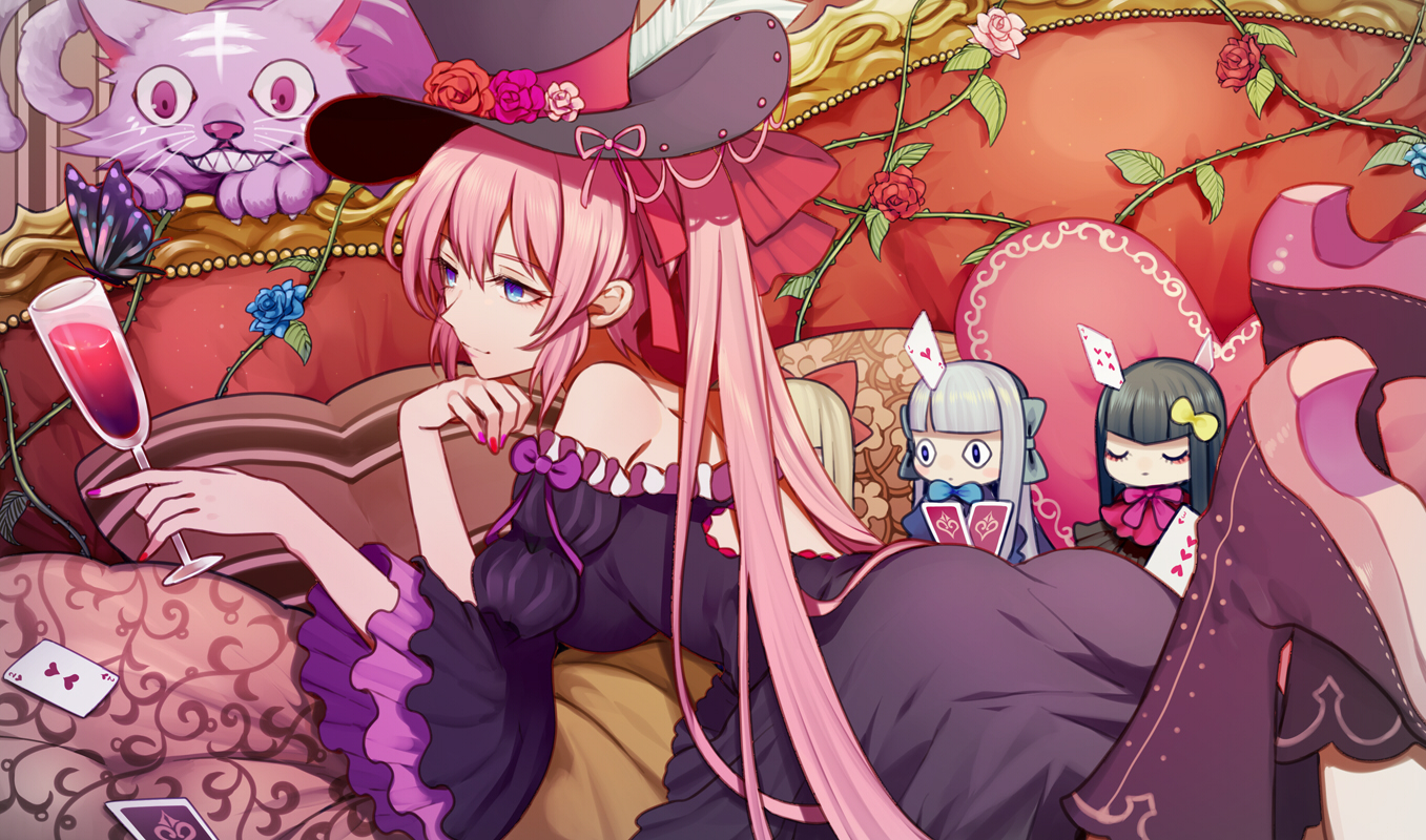 dress flowers harano hat megurine_luka pink_hair vocaloid