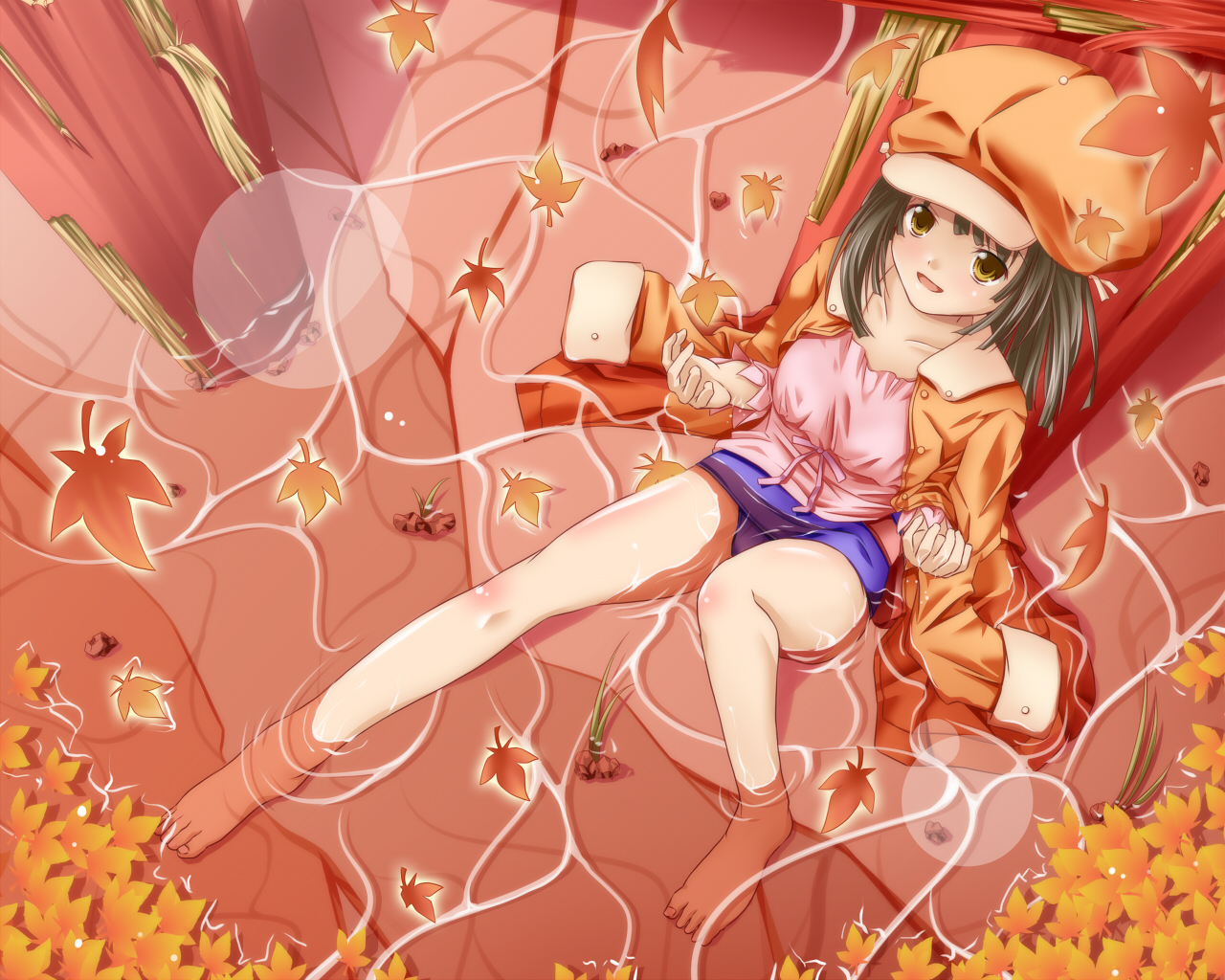 bakemonogatari barefoot green_hair monogatari_(series) sengoku_nadeko short_hair water yellow_eyes