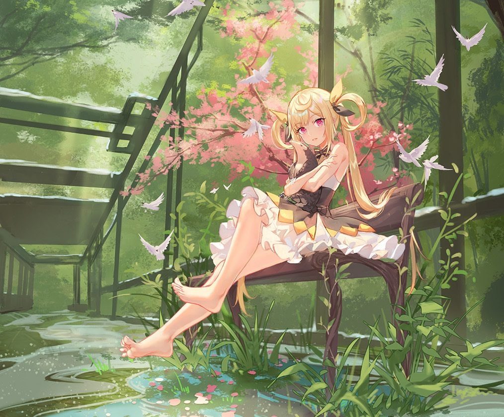 animal atdan barefoot bird blonde_hair bow cropped dress flowers forest grass green long_hair petals pink_eyes shian_(synthv) synthesizer_v tree twintails water