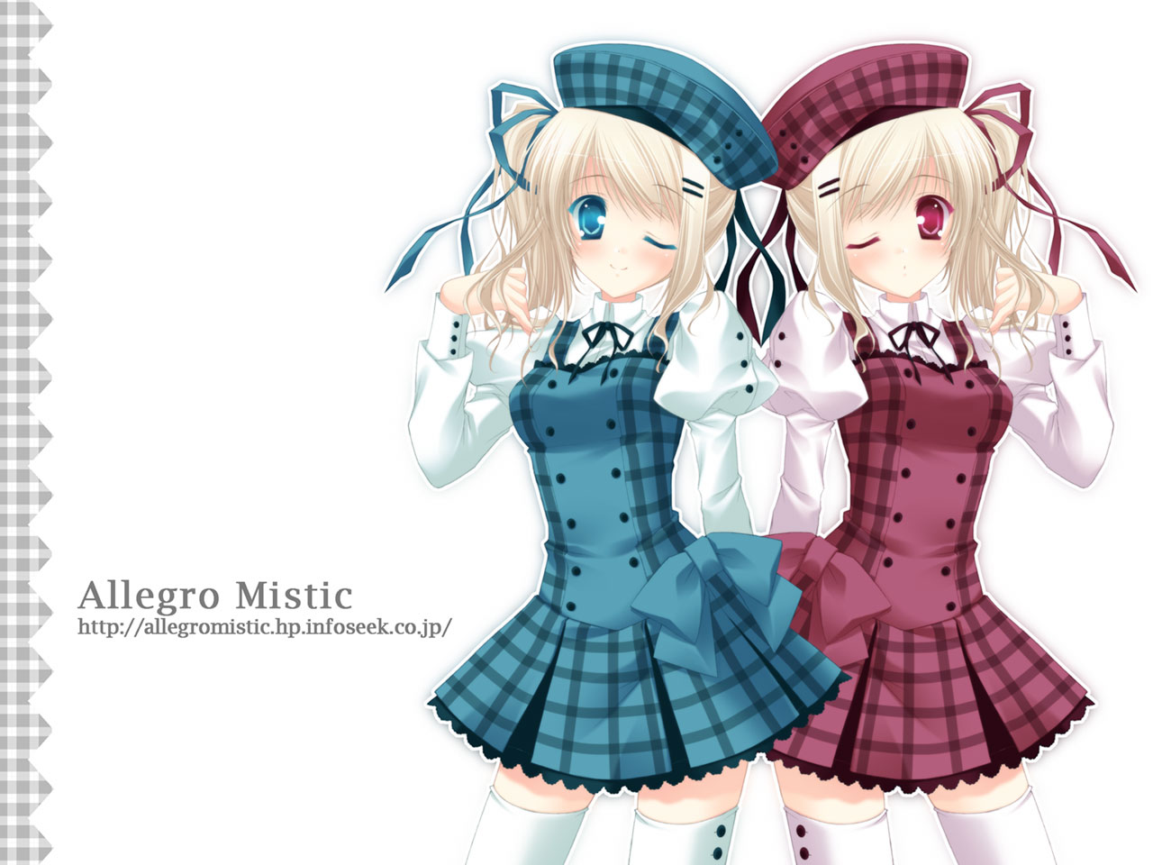 2girls allegro_mistic blonde_hair blue_eyes red_eyes ribbons skirt tagme thighhighs twins watermark wink