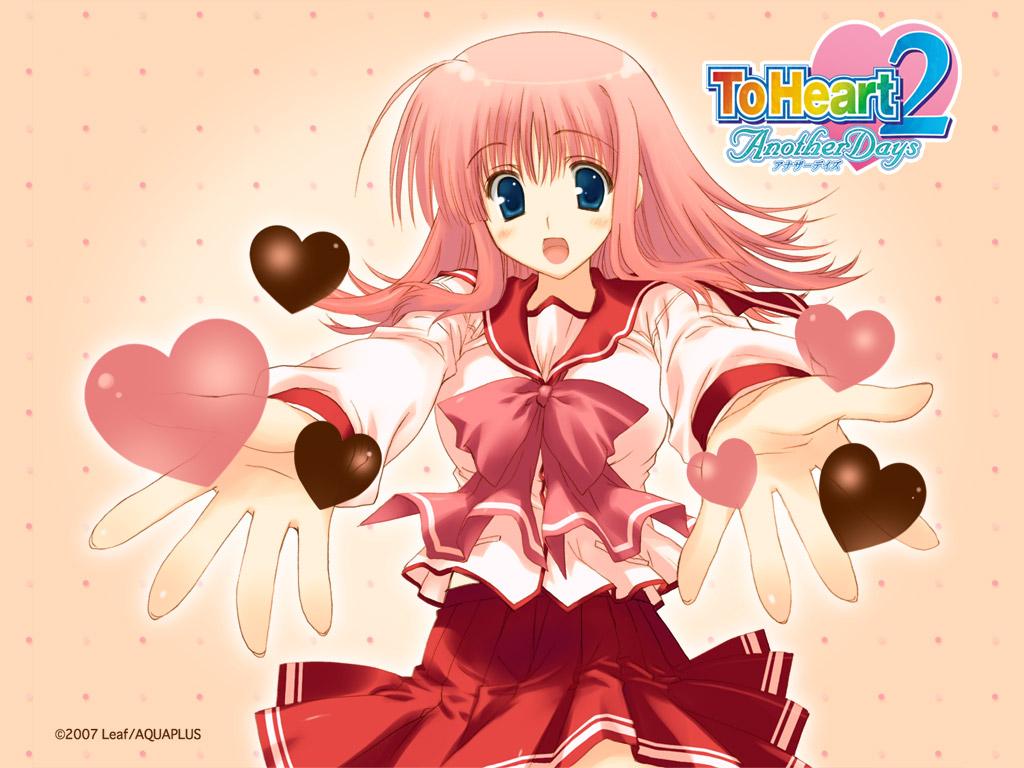 aquaplus blue_eyes kouno_harumi leaf mitsumi_misato pink_hair school_uniform to_heart to_heart_2