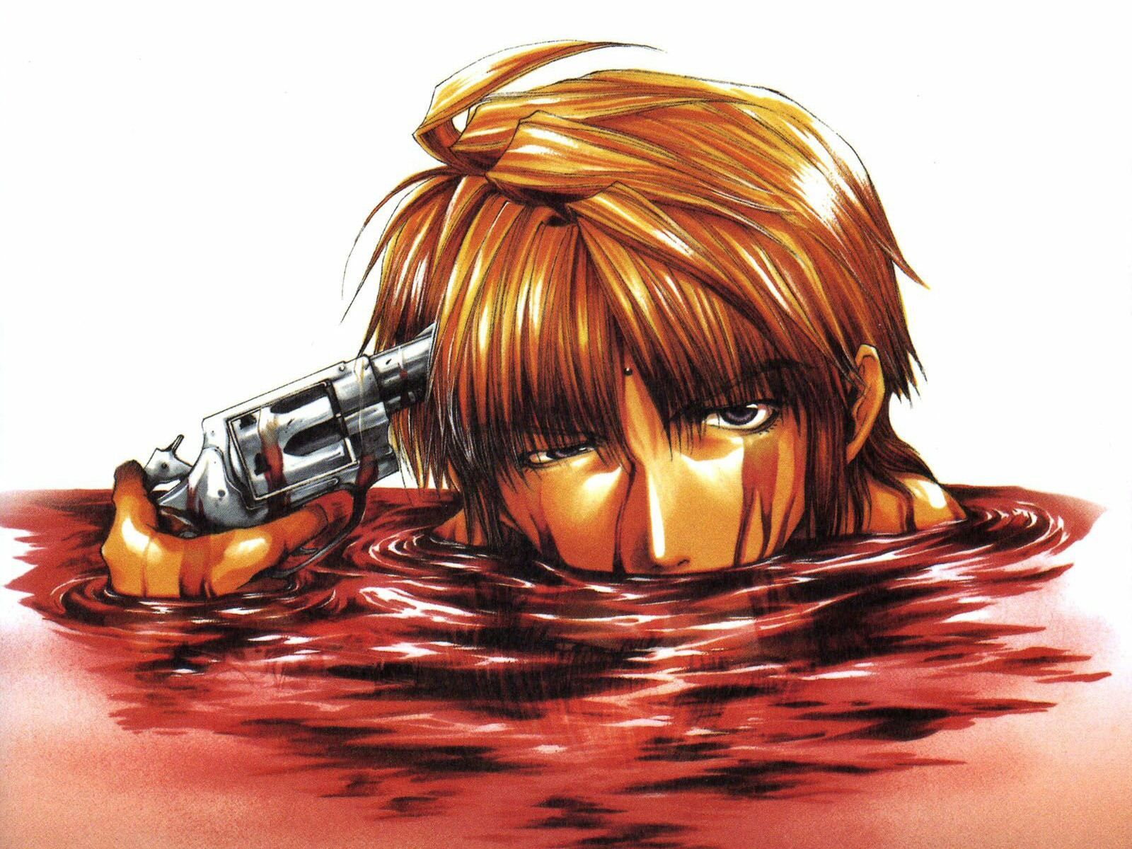 blood genjo_sanzo gun saiyuki weapon
