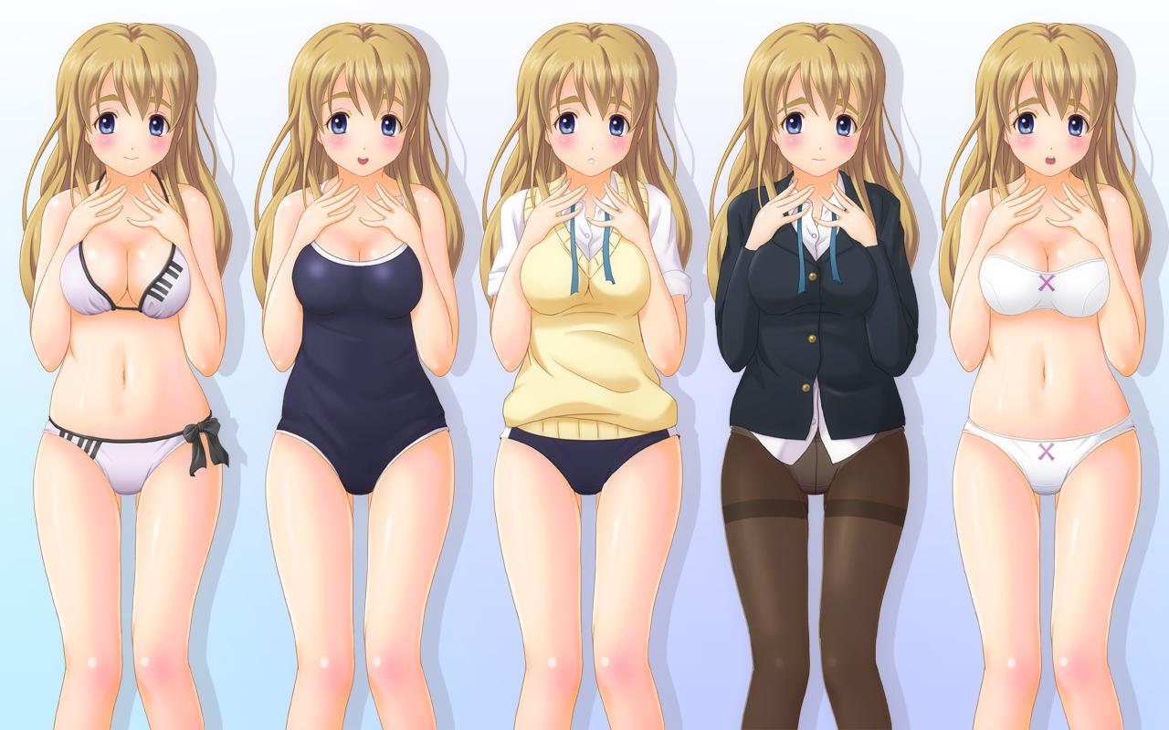 bikini bloomers bra k-on! kotobuki_tsumugi panties pantyhose school_uniform shian_(my_lonly_life.) swimsuit underwear