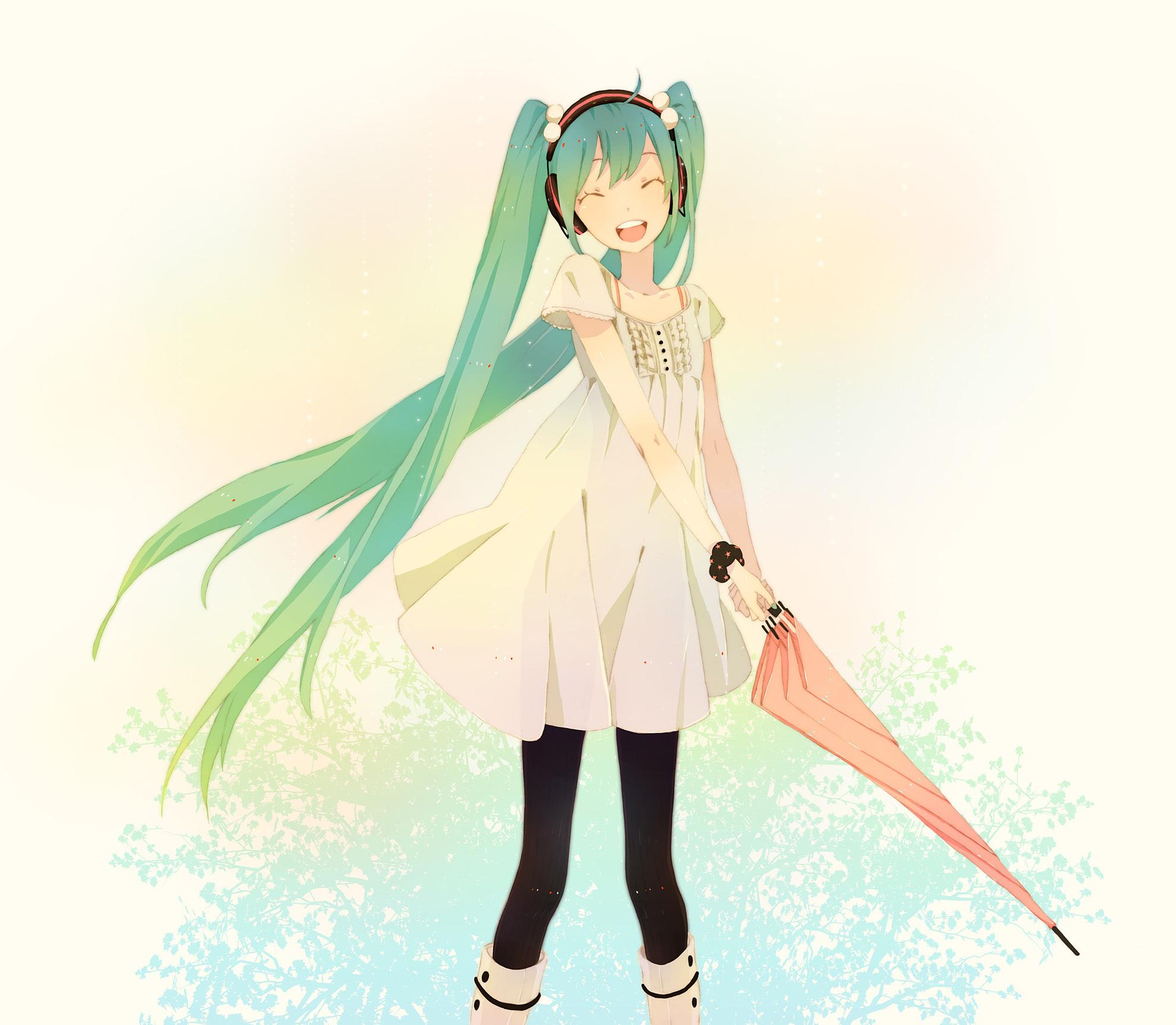 aqua_hair boots dress hatsune_miku headphones kuko:mi long_hair melt_(vocaloid) pantyhose twintails umbrella vocaloid white