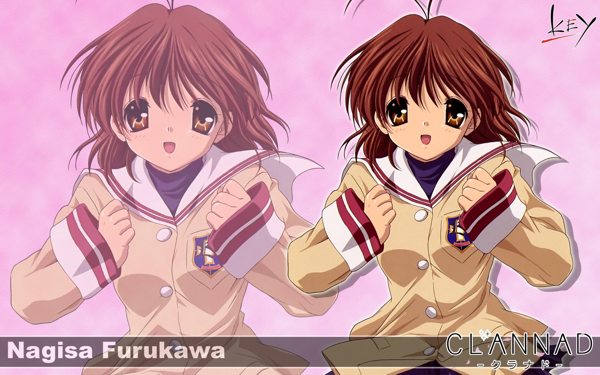 brown_eyes brown_hair clannad furukawa_nagisa key logo seifuku short_hair zoom_layer