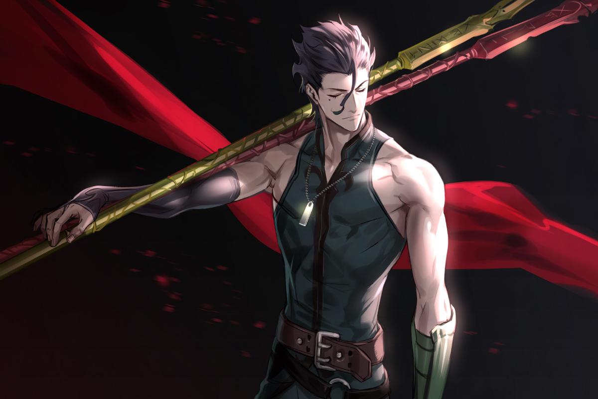 all_male brown_hair diarmuid_ua_duibhne_(fate) fate/grand_order fate_(series) foo_midori gloves male necklace short_hair spear weapon