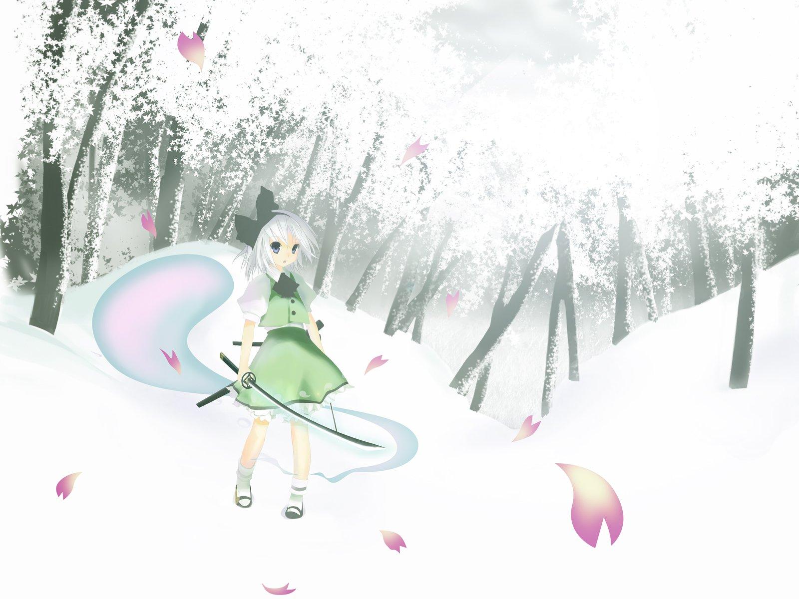 katana konpaku_youmu myon snow sword touhou weapon