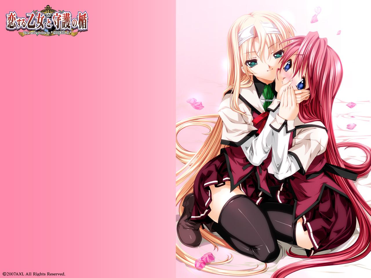 blonde_hair blue_eyes green_eyes koisuru_otome_to_shugo_no_tate long_hair male pink pink_hair school_uniform thighhighs trap yamada_taeko yukino_kasugasaki