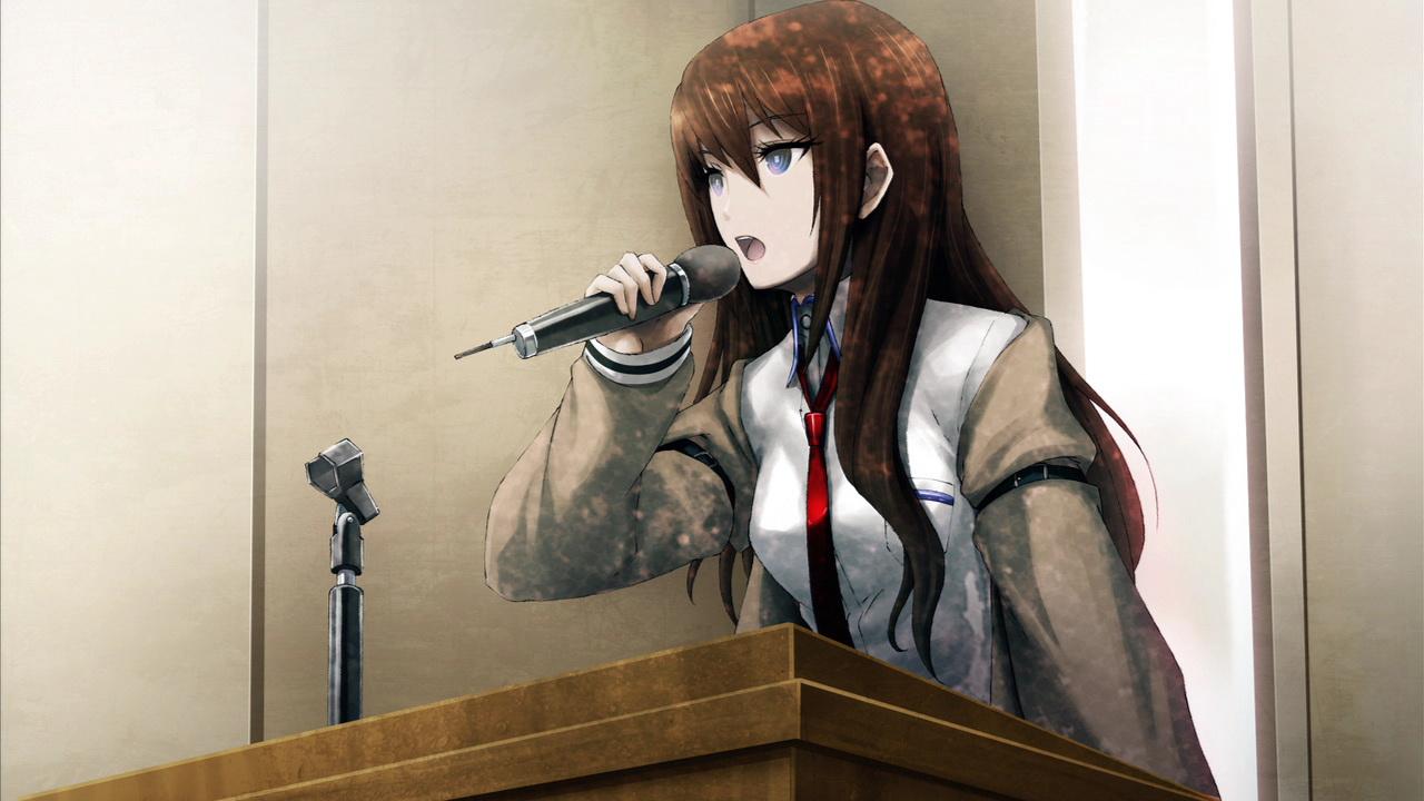 brown_hair game_cg huke makise_kurisu microphone steins;gate