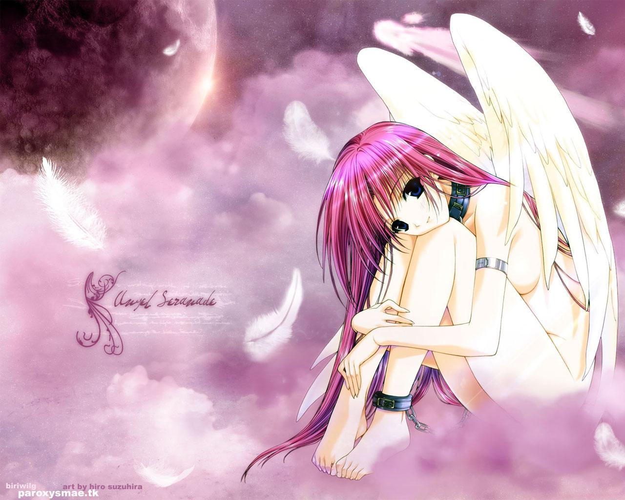 angel blue_eyes chain clouds collar feathers long_hair moon nude pink_hair sky stars suzuhira_hiro wings