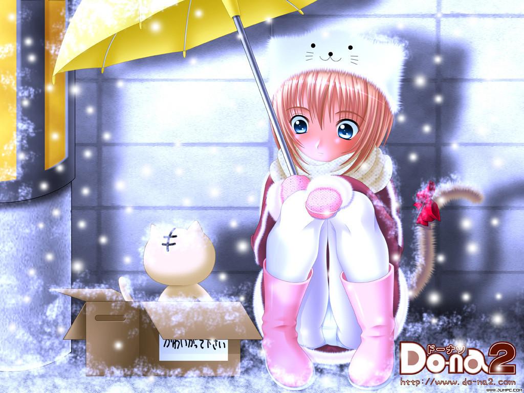 animal animal_ears blush boots cat catgirl doll do-na_2 hat panties red_hair scarf short_hair snow tail umbrella underwear watermark