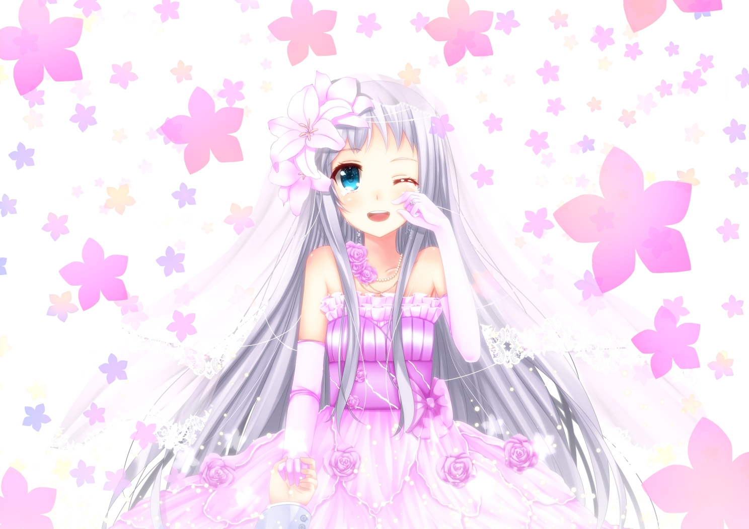 ano_hi_mita_hana_no_namae_wo_bokutachi_wa_mada_shiranai blue_eyes blush crying flowers gray_hair honma_meiko long_hair swordsouls wedding wedding_attire
