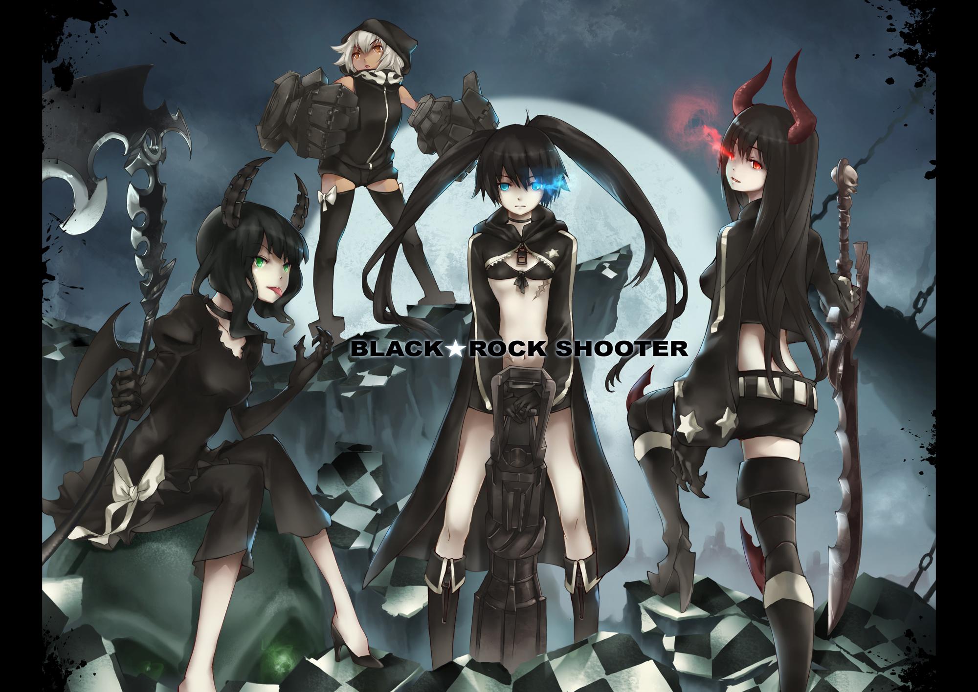 black_rock_shooter hoodie irino_saya koutari_yuu kuroi_mato takanashi_yomi