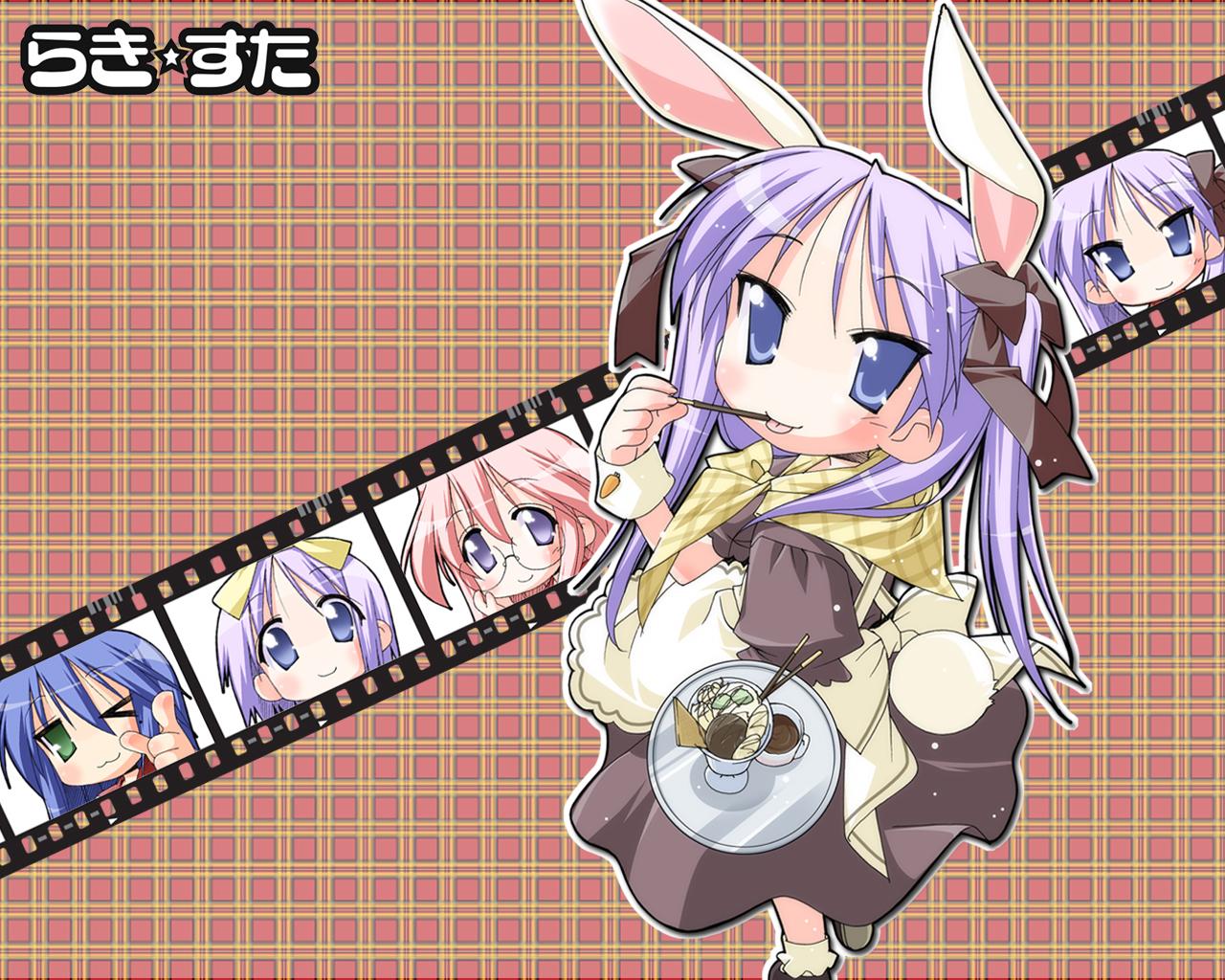 animal_ears bunny_ears bunnygirl cosplay food hiiragi_kagami hiiragi_tsukasa izumi_konata lucky_star pocky takara_miyuki waitress