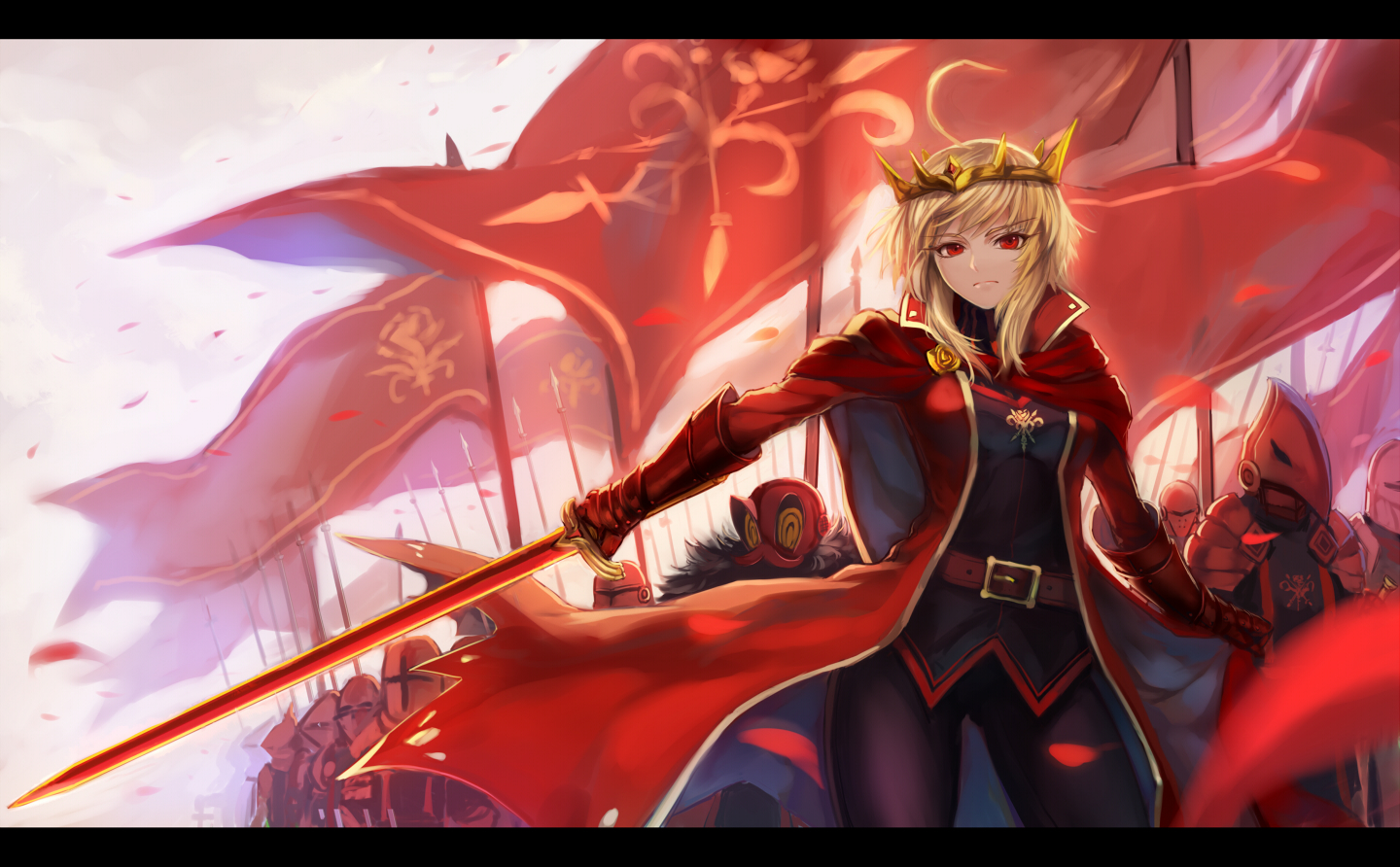 armor blonde_hair crown pixiv_fantasia red_eyes ryuuzaki_itsu sword tagme weapon