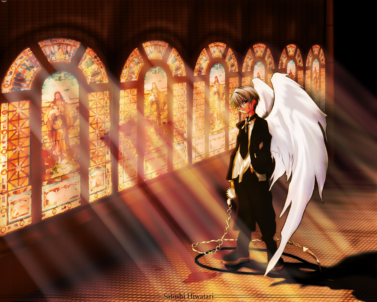 blonde_hair chain cross dnangel hiwatari_satoshi male tie wings