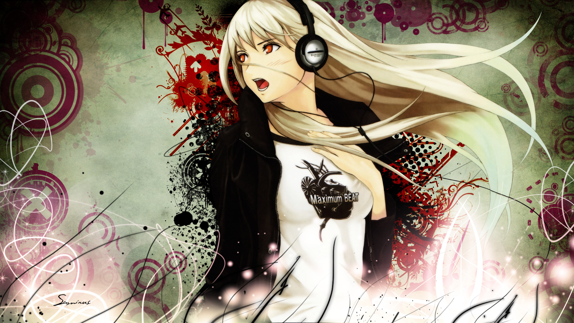 blonde_hair blush eureka headphones long_hair red_eyes tagme tenka_sanbun third-party_edit