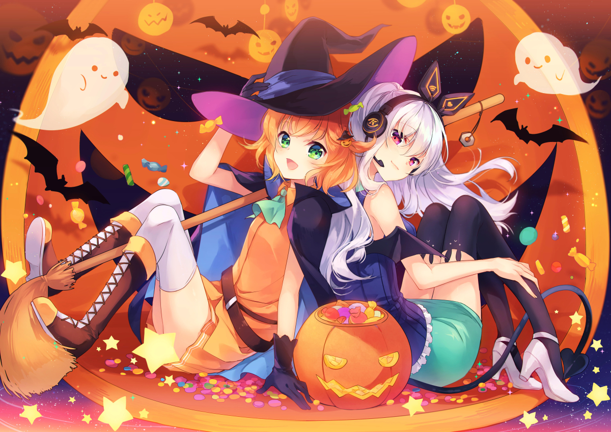 2girls aliasing animal bat boots candy cape gloves green_eyes halloween hat headphones long_hair microphone orange_hair pumpkin shinia short_hair skirt stars tail thighhighs white_hair witch_hat