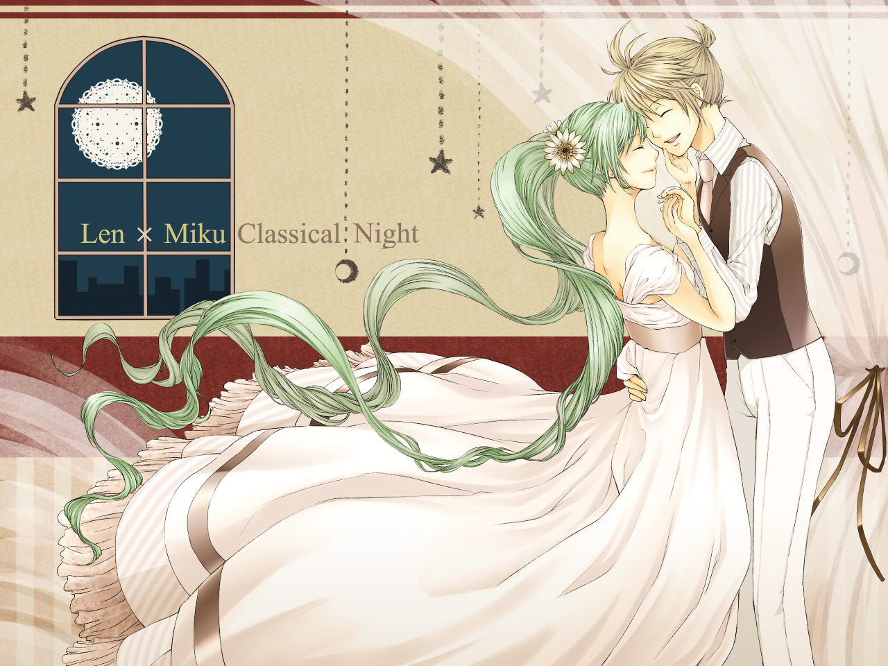 aliasing blonde_hair dress flowers fuusha green_hair hatsune_miku kagamine_len male night ponytail twintails vocaloid