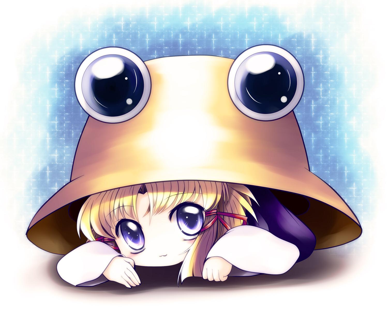 blonde_hair blue_eyes cat_smile hat moriya_suwako short_hair touhou yume_shokunin