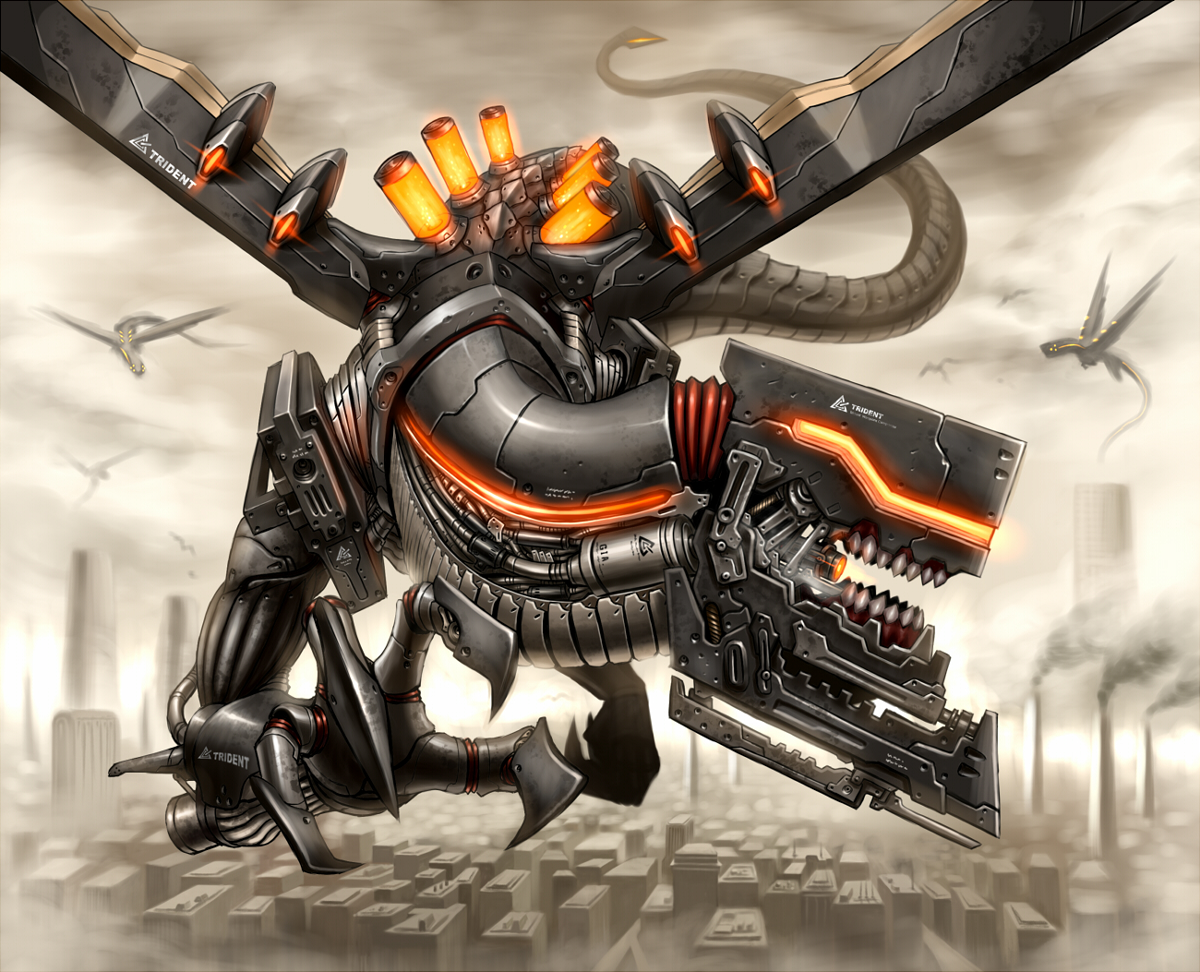 dragon gia gun mecha original tail weapon