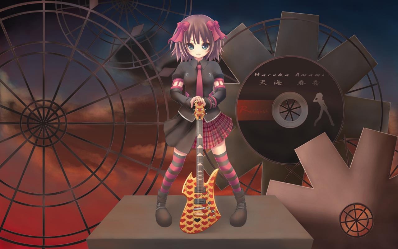 amami_haruka blue_eyes boots bow brown_hair guitar idolmaster instrument ribbons short_hair skirt thighhighs tie