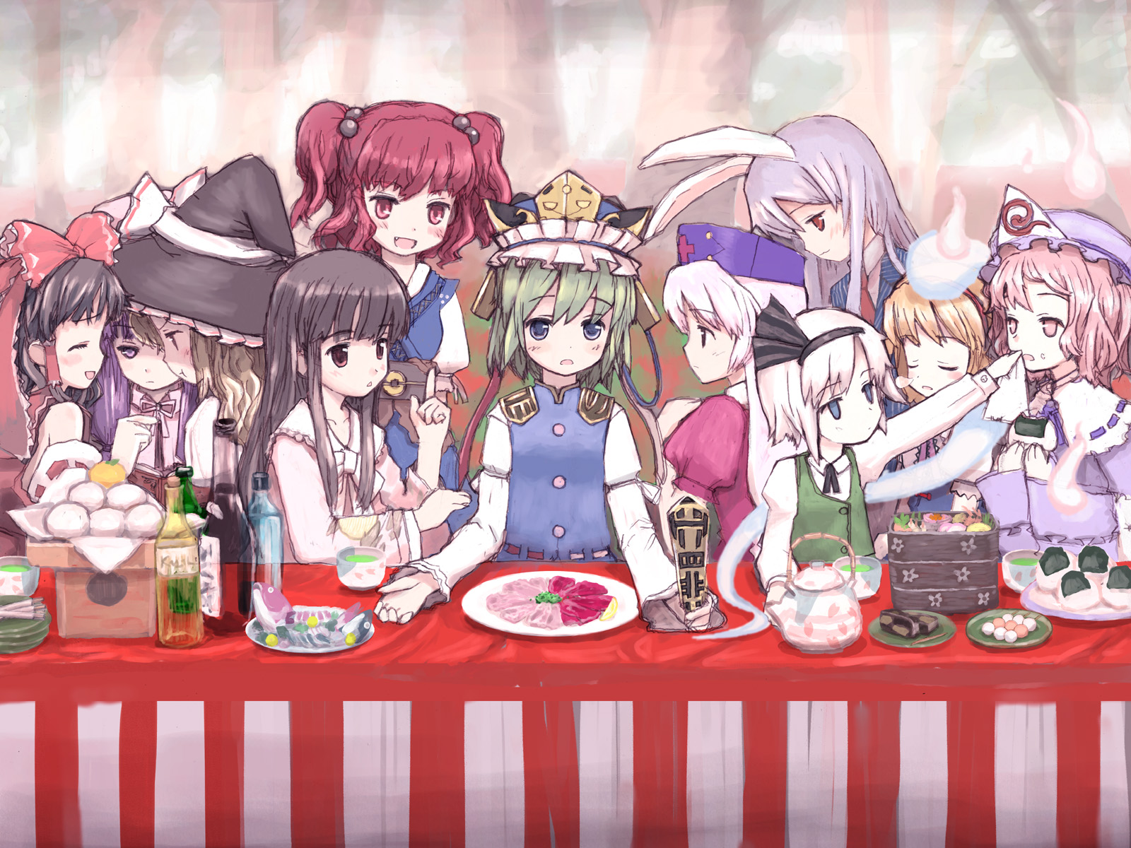 alice_margatroid animal_ears black_hair blonde_hair blue_eyes blush bunny_ears bunnygirl drink fang food green_hair group hakurei_reimu hat houraisan_kaguya japanese_clothes kimono kirisame_marisa konpaku_youmu long_hair miko myon onozuka_komachi patchouli_knowledge pink_eyes pink_hair purple_eyes purple_hair red_eyes red_hair reisen_udongein_inaba saigyouji_yuyuko sake shiki_eiki short_hair sleeping touhou twintails white_hair witch yagokoro_eirin