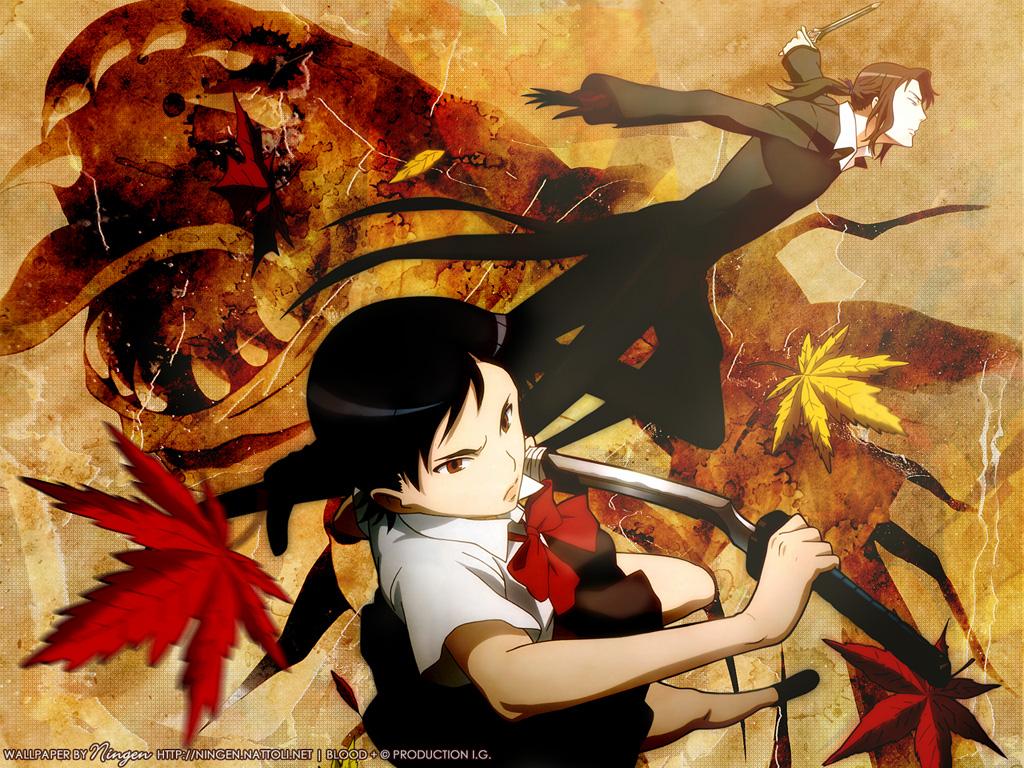 blood_(anime) haji otonashi_saya sword weapon